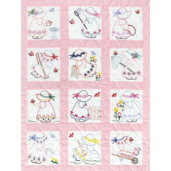 """Stamped White Nursery Quilt Blocks 9""""X9"""" 12/Pkg"""