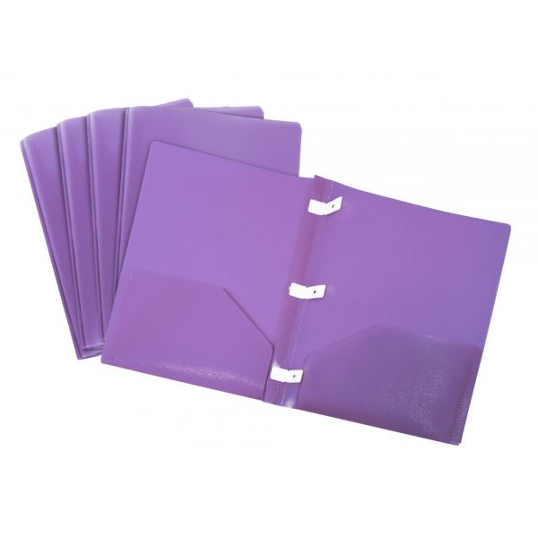 Storex Thicker Poly Purple Two Pocket Folders with Plastic Prongs
