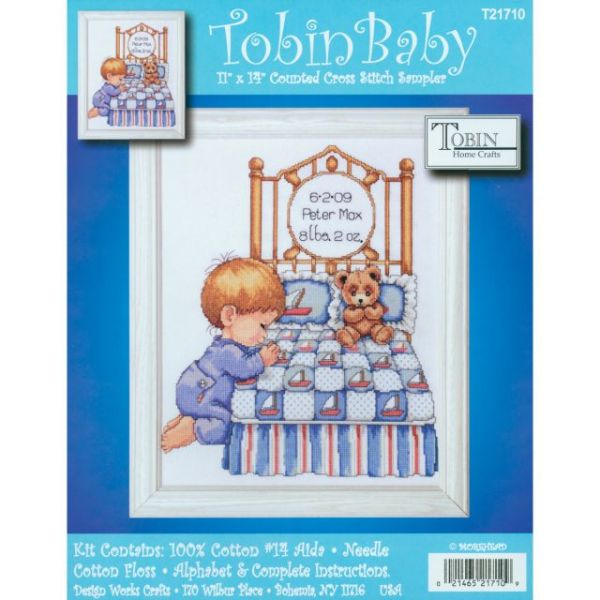 Bedtime Prayer Boy Birth Record Counted Cross Stitch Kit