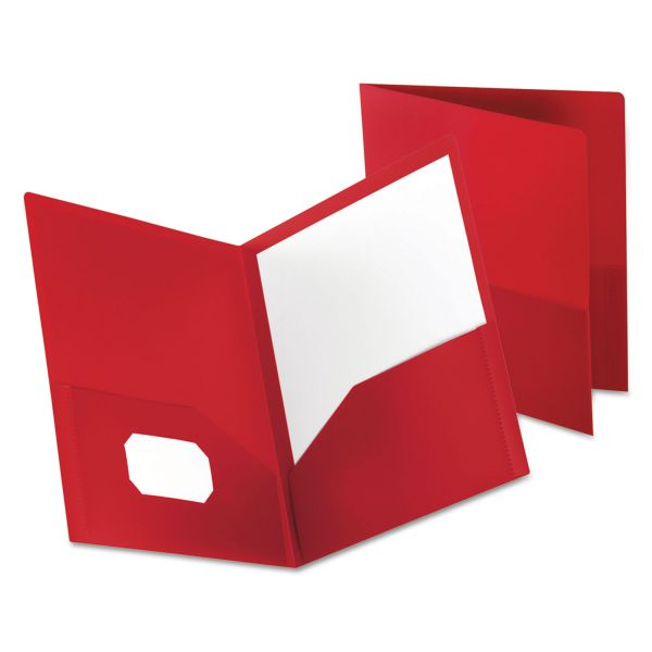 Oxford Poly Twin-Pocket Folder, 100-Sheet Capacity, Opaque Red, 1 Each