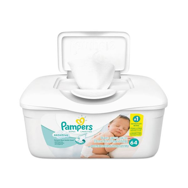 Pampers Sensitive Baby Wipes, White, Cotton, Unscented, 64/Tub, 8 Tub/Carton