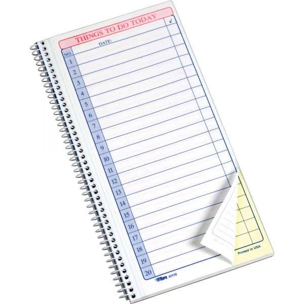 TOPS Daily Agenda/Things To Do Form,5-1/2 x 11, Carbonless 2-Part, 50-Set Pad