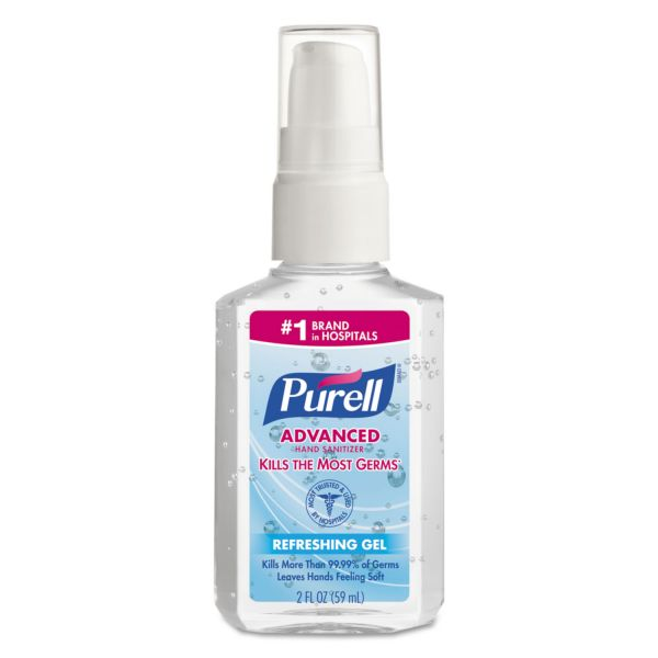 PURELL Advanced Instant Hand Sanitizer, 2oz Personal Pump Bottle, 24/Carton