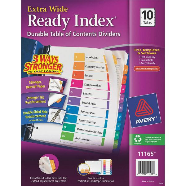 Avery Extra Wide Ready Index 10-Tab Numbered Dividers With Table Of Contents Page