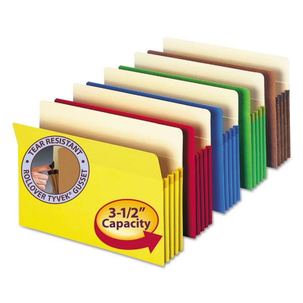 "Smead 3 1/2"" Exp Colored File Pocket, Straight Tab, Legal, Asst, 5/Pack"
