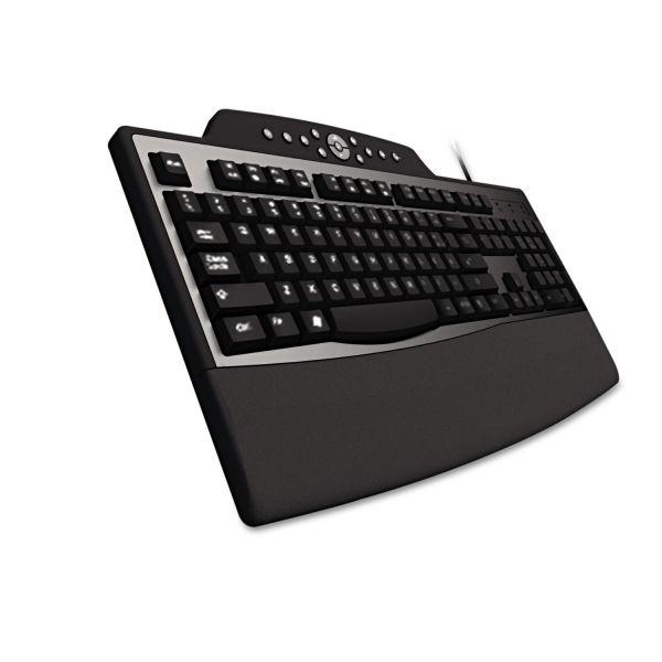 Kensington Pro Fit Comfort Keyboard, Internet/Media Keys, Wired, Black