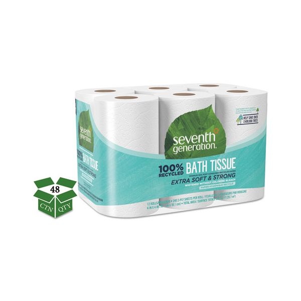 Seventh Generation 100% Recycled Bathroom Tissue, 2-Ply, White, 240 Sheets/Roll, 48/Carton