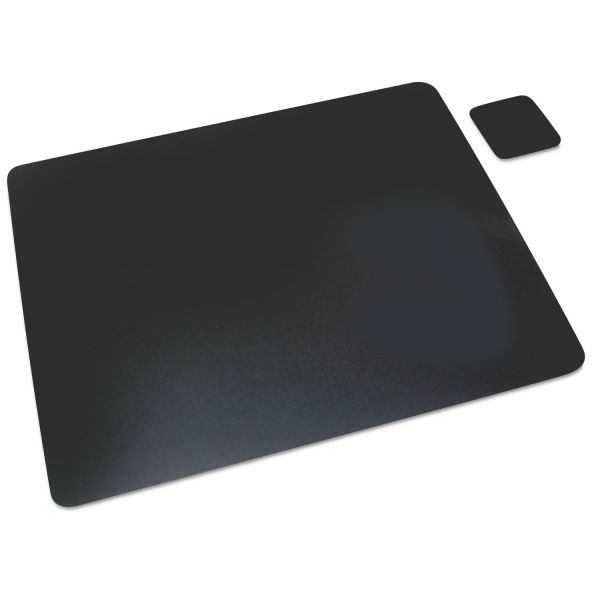 Artistic Leather Desk Pad w/Coaster, 19 x 24, Black