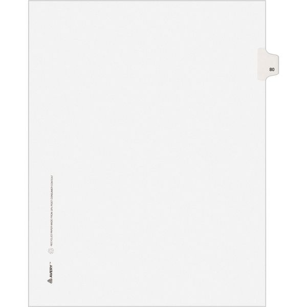 Avery-Style Legal Exhibit Side Tab Divider, Title: 80, Letter, White, 25/Pack