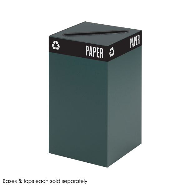 Safco Public Recycling Container, Square, Steel, 25gal, Green