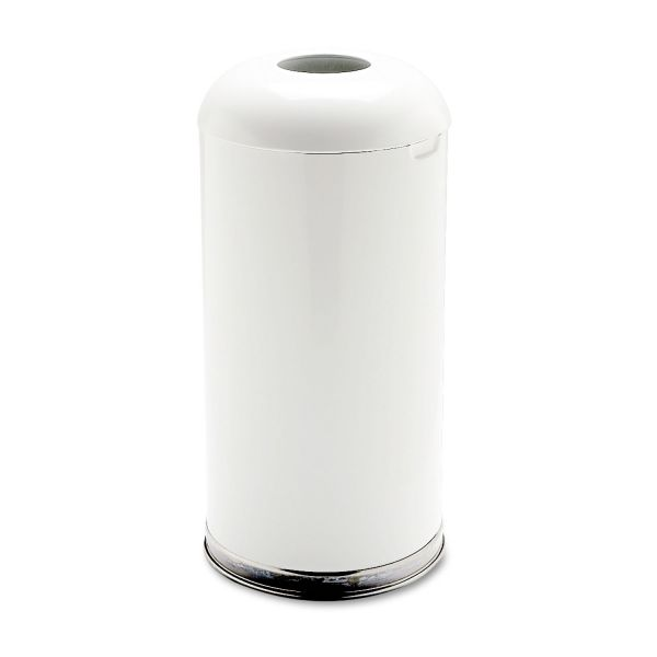 Rubbermaid Commercial Fire-Resistant Open Top Receptacle, Round, Steel, 15gal, White