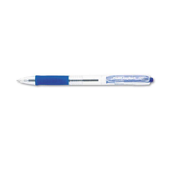Pilot EasyTouch Retractable Ball Point Pen, Blue Ink, .7mm, Dozen
