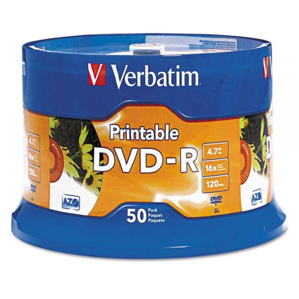 Verbatim DVD-R Disc, 4.7 GB, 16x, White, 50/Pk
