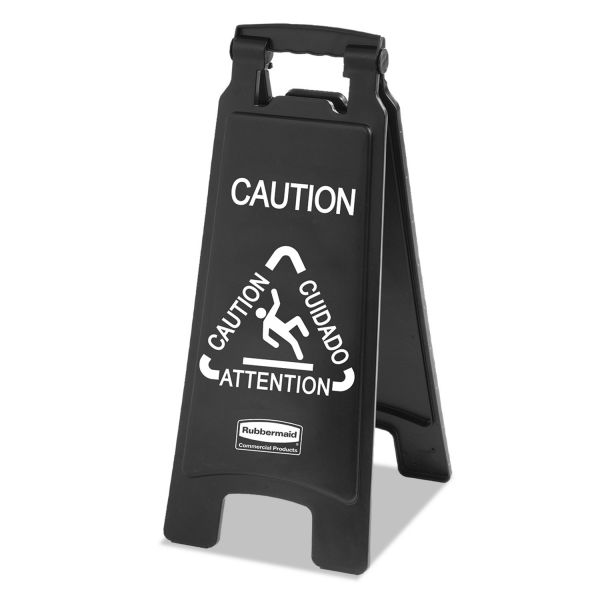 Rubbermaid Commercial Executive 2-Sided Multi-Lingual Caution Sign, Black/White, 10 9/10 x 26 1/10