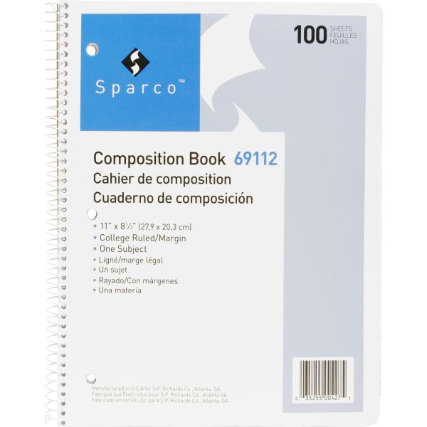 Sparco Punched Spiral Composition Books - Letter