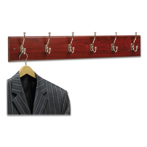 Safco 6-Hook Wood Wall Rack