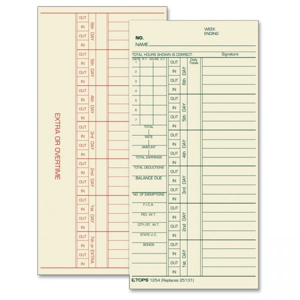 TOPS Double-Sided Overtime Weekly Time Cards