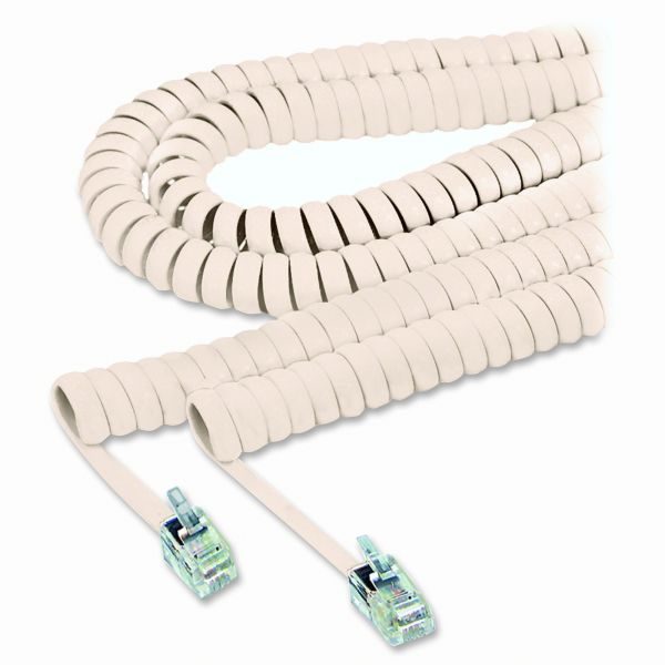 Softalk Coiled Phone Cord, 25ft, Beige