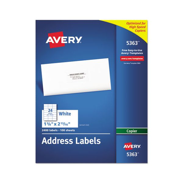 Avery Copier Address Labels, 1 3/8 x 2 13/16, White, 2400/Box