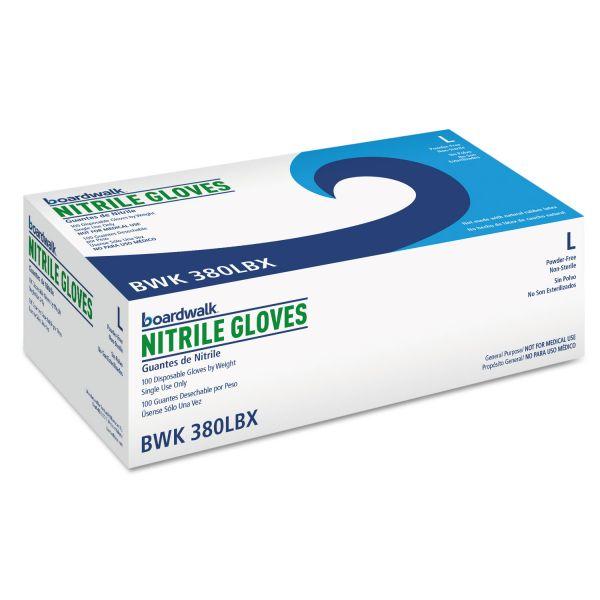 Boardwalk Disposable General-Purpose Nitrile Gloves, Large, Blue, 100/Box