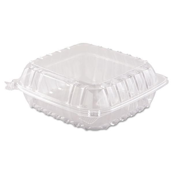 Dart ClearSeal Hinged-Lid Plastic Containers, 8 3/10 x 8 3/10 x 3, Clear, 250/Carton