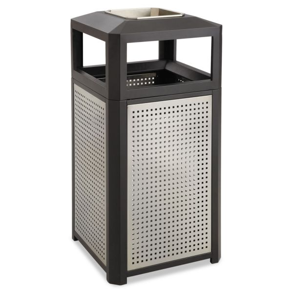 Safco Evos Series 15 Gallon Trash Container With Ashtray-Top