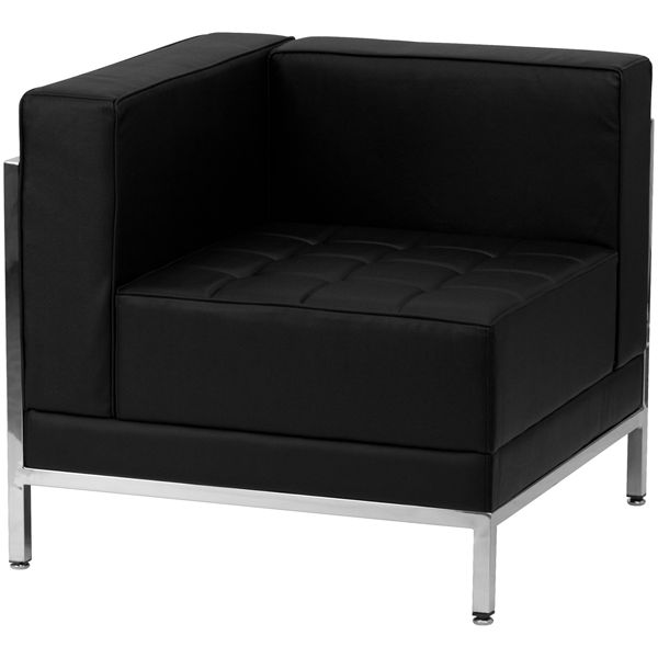 Flash Furniture Contemporary Black Leather Left Corner Chair