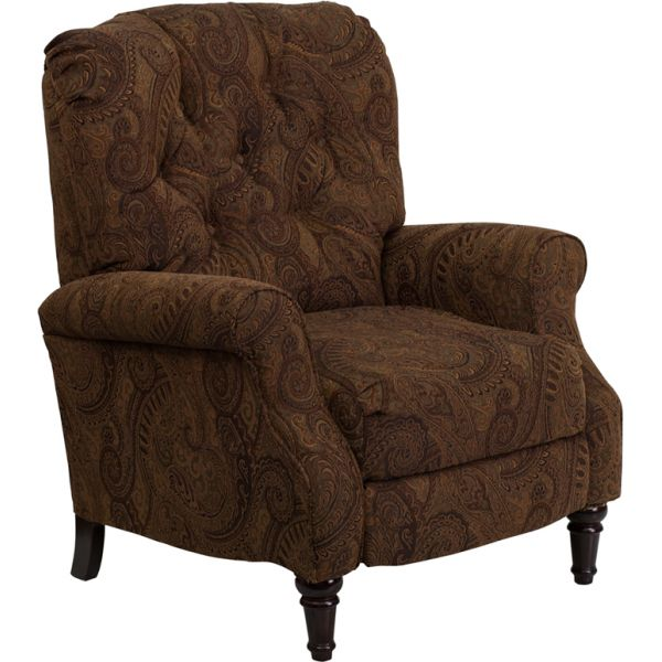 Flash Furniture Traditional Tobacco Fabric Tufted Hi-Leg Recliner