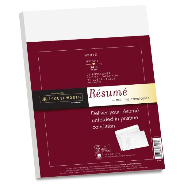 Southworth 25% Cotton Resume Envelopes, White, 24lb, 9 x 12, Wove, 25/Box