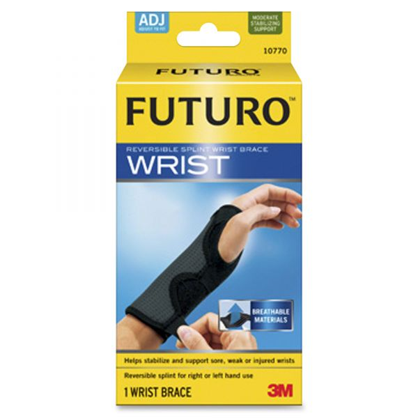"FUTURO Adjustable Reversible Splint Wrist Brace, Fits Wrists 5 1/2""- 8 1/2"", Black"