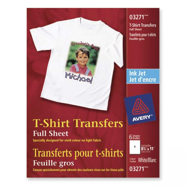 Avery Iron-on Light-Colored T-Shirt Transfers