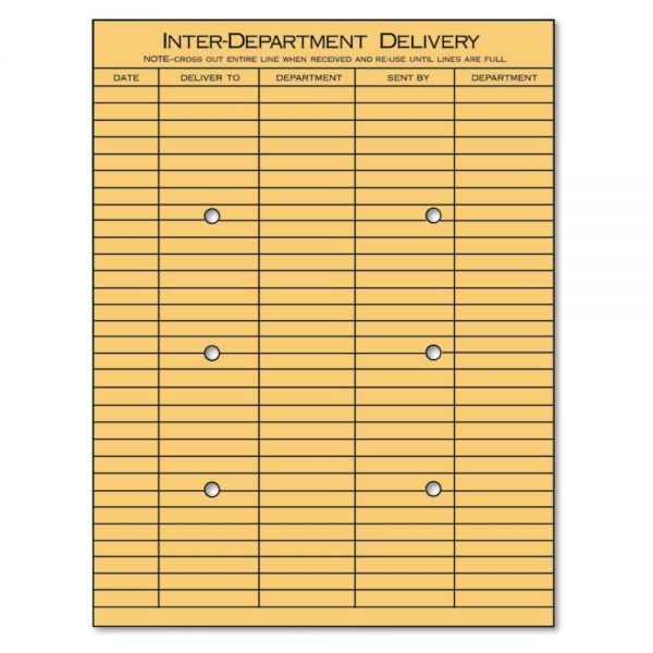 Universal Light Brown Kraft String & Button Interoffice Envelope, 10 x 13, 100/box