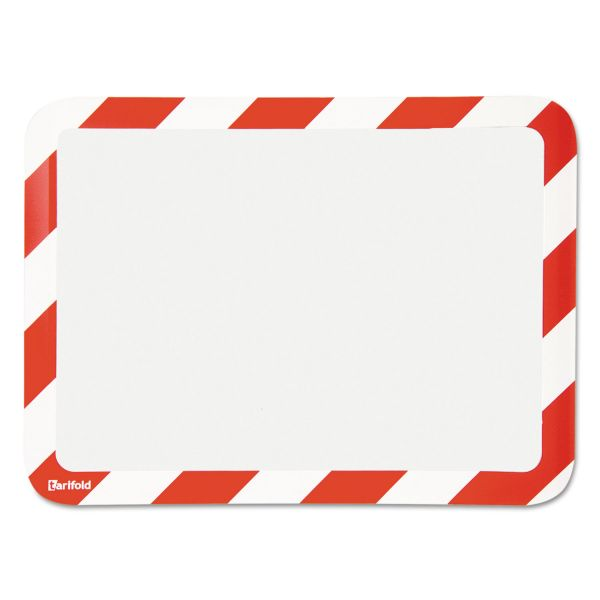 Tarifold, Inc. High Visibility Safety Frame Display Pocket-Self Adhesive,10 1/4 x 14 1/2, RD/WH