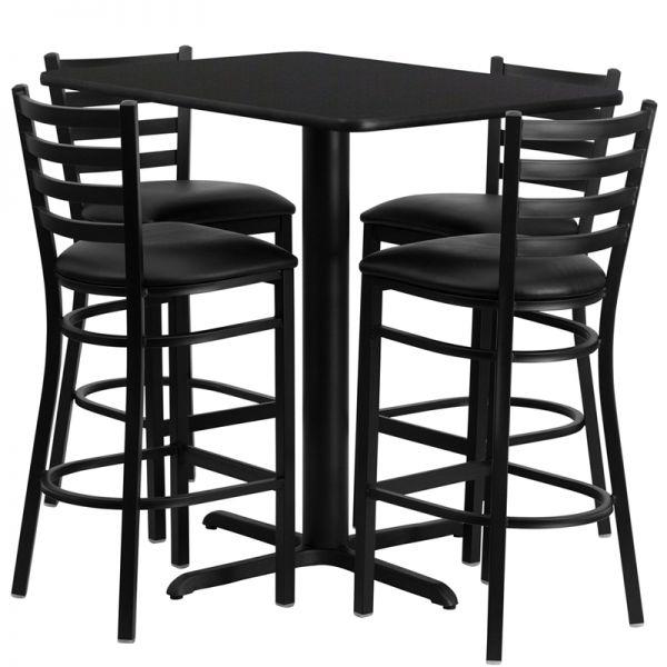 Flash Furniture 24''W x 42''L Rectangular Black Laminate Table Set with 4 Ladder Back Metal Barstools - Black Vinyl Seat