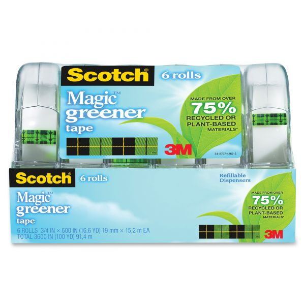 """Scotch 3/4"""" Magic Greener Tape in Refillable Dispenser"""