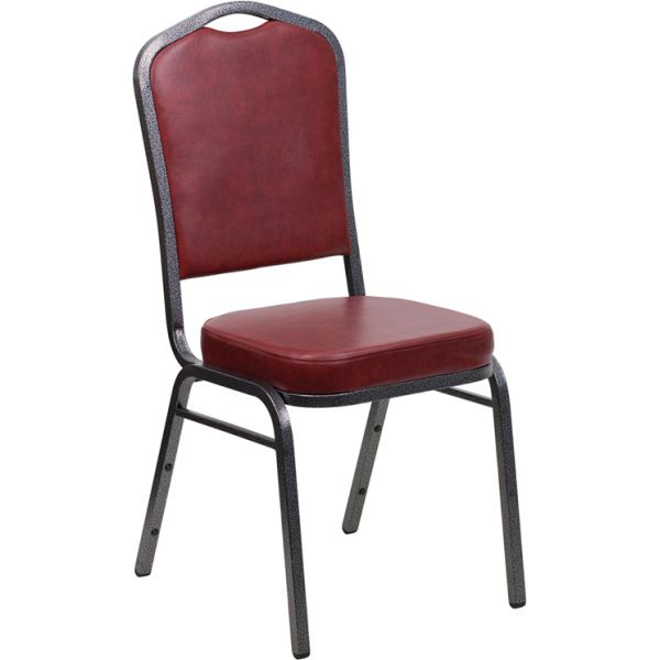 Flash Furniture HERCULES Series Crown Back Stacking Banquet Chair with Burgundy Vinyl and 2.5'' Thick Seat - Silver Vein Frame