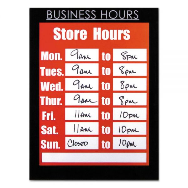 NuDell Clear Plastic Sign Holder with Business Hours Header, All-Purpose, 8 1/2 x 11