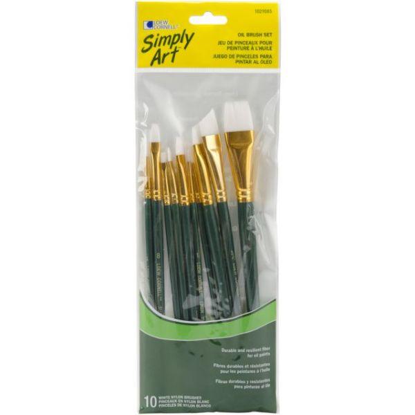 Simply Art White Nylon Brush Set 10/Pkg