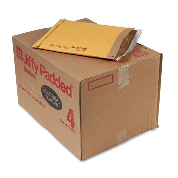 Sealed Air Jiffy Padded Self Seal Mailer, #4, 9 1/2 x 14 1/2, Natural Kraft, 100/Carton
