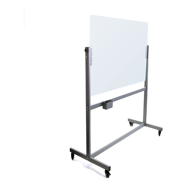 U Brands Magnetic Glass Dry Erase Board Rolling Easel 47 X 35 Inches White Frosted Surface