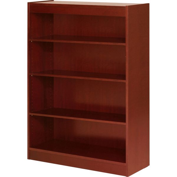 Lorell 4-Shelf Panel Wood Veneer Bookcase