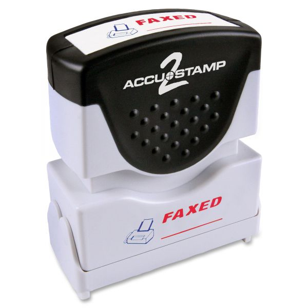 ACCUSTAMP2 Pre-Inked Shutter Stamp with Microban, Red/Blue, FAXED, 1 5/8 x 1/2