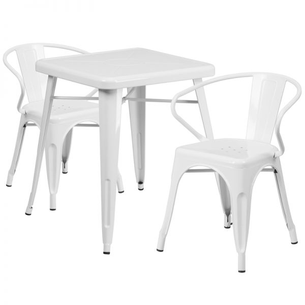 Flash Furniture 23.75'' Square White Metal Indoor-Outdoor Table Set with 2 Arm Chairs