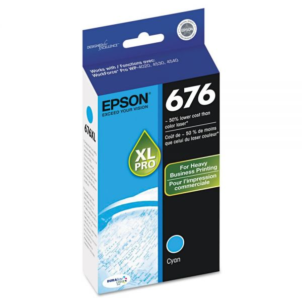 Epson 676 XL Cyan High Yield Ink Cartridge (T676XL220)