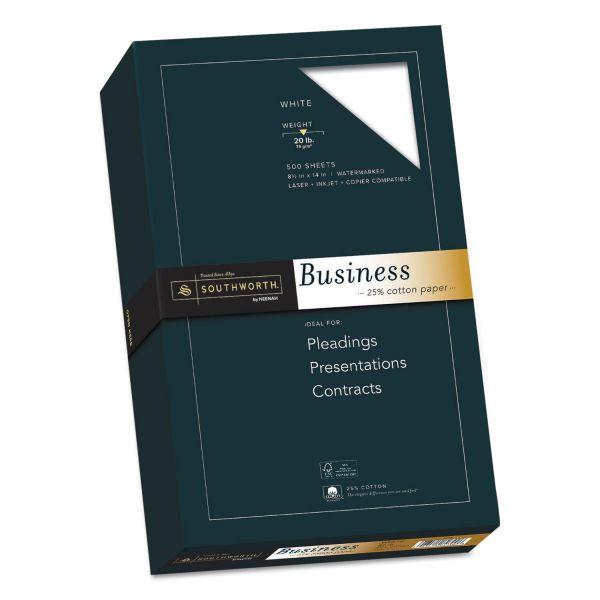 Southworth 25% Cotton Business Paper, 20lb, 95 Bright, 8 1/2 x 14, 500 Sheets