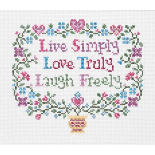 Janlynn Live, Love, Laugh Counted Cross Stitch Kit
