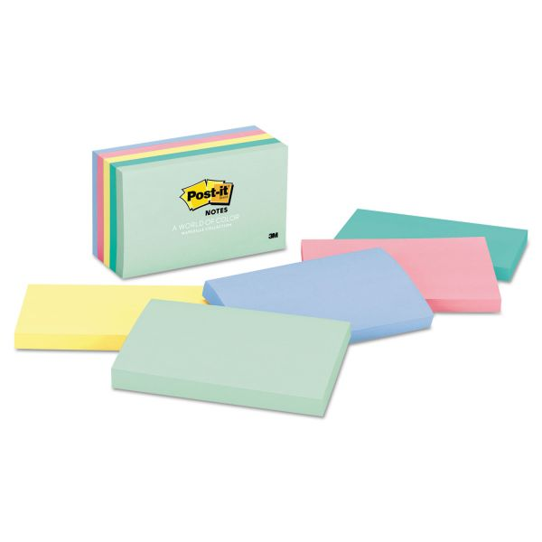Post-it Notes Original Pads in Marseille Colors, 3 x 5, 100-Sheet, 5/Pack