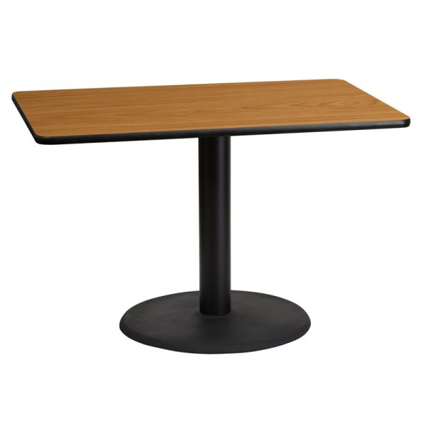 Flash Furniture 30'' x 45'' Rectangular Natural Laminate Table Top with 24'' Round Table Height Base