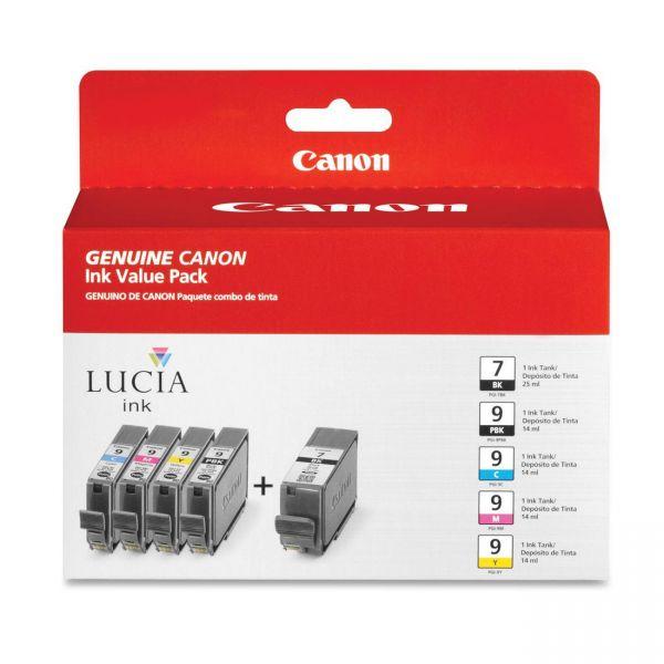 Canon PGI-7 Black/PGI-9 Photo Black/Color Ink Cartridge Combo Pack