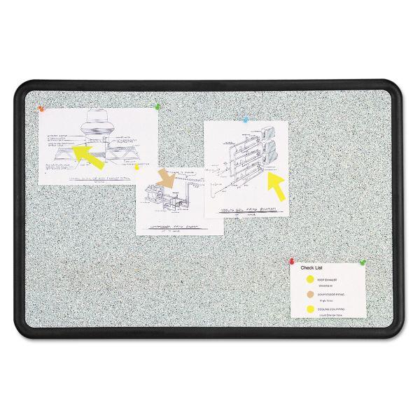 Quartet Contour Granite Gray Tack Board, 48 x 36, Black Frame